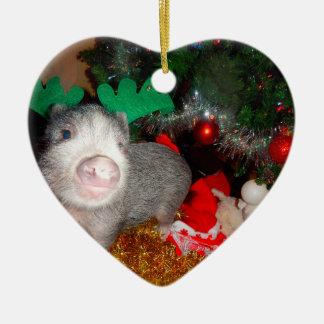 Ornement Cœur En Céramique Mini ornement de coeur de porc de Noël doux