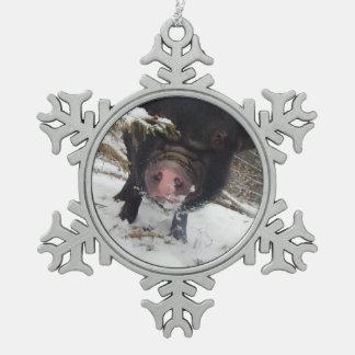 Ornement Flocon De Neige Mini ornement noir unique de flocon de neige