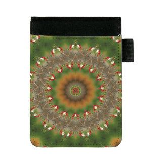 Mini Padfolio Brown abstrait et motif vert de kaléidoscope
