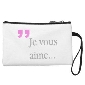 Mini-pochette Embrayage blanc français de JE VOUS AIME mini