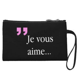 Mini-pochette Embrayage noir français de JE VOUS AIME 2sided W