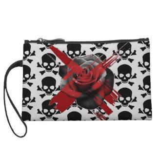 Mini-pochette mini embrayage de rose personnalisable de crâne