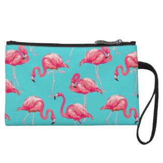 Mini-pochette Oiseaux roses de flamant sur l'arrière - plan de