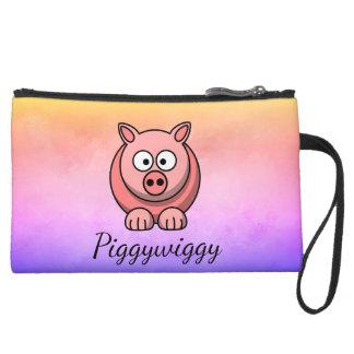 Mini-pochette Simili Daim PiggyWiggy peu de porcelet mignon en pastel de