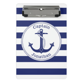 Mini Porte-bloc Capitaine nautique Personalized de bleu marine