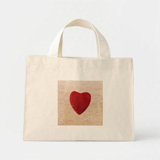 Mini Tote Bag Arrière-plan de bois coeur