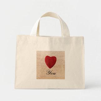 Mini Tote Bag Arrière-plan de bois Love you