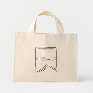 Mini Tote Bag Bannière de calligraphie d'amour