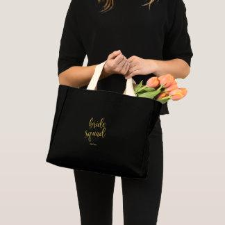 Mini Tote Bag Calligraphie de parties scintillantes d'or de
