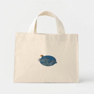 Mini Tote Bag Dessin ovale de cheval de tête de citrouille de