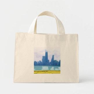 Mini Tote Bag Gratte-ciel de Chicago balayés par air