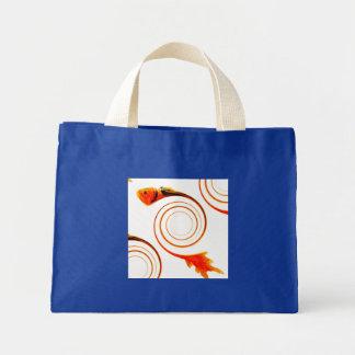 Mini Tote Bag Poissons dans un art abstrait de remous