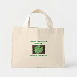 """Mini Tote Bag """"Protégez et aimez la terre """""""