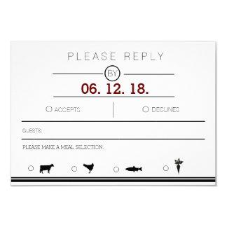 Minimaliste moderne et urbain RSVP noir et blanc Carton D'invitation 8,89 Cm X 12,70 Cm