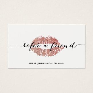 Minimaliste rose de salon de lèvres d'or de la cartes de visite