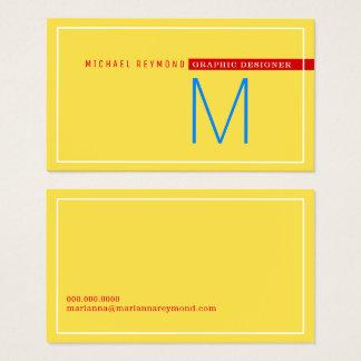 minimalistische & moderne, grafische gele visitekaartjes
