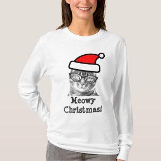 Minou mignon du T-shirt   Père Noël de chat de