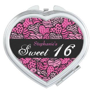 Miroir animal rose du bonbon 16 à coeurs de motif