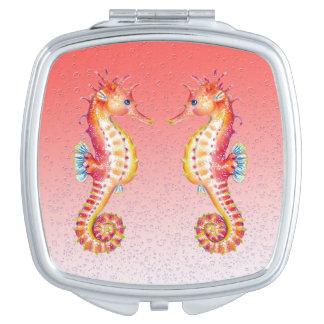 Miroir Compact bulles de rouge d'hippocampe