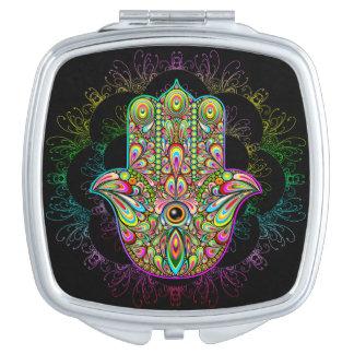 Miroir compact carré psychédélique de main de