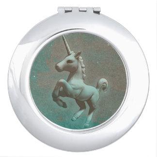 Miroir compact de licorne rond (acier turquoise)