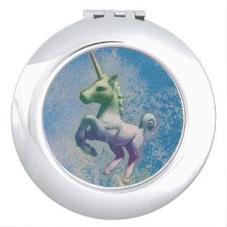 Miroir compact de licorne rond (Arctique bleu)
