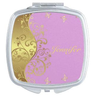 Miroir Compact Miroir compact--Remous et rose d'or