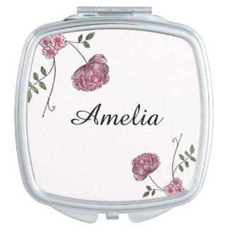 Miroir compact personnalisé décoré des fleurs