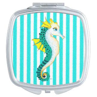 Miroir Compact rayures de sarcelle d'hiver d'hippocampe
