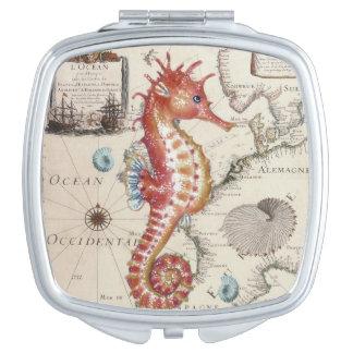 Miroir Compact rouge vintage de carte d'hippocampe vieux