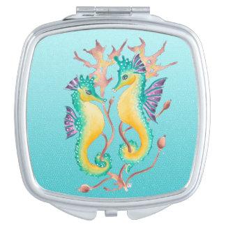 Miroir Compact stainglass de sarcelle d'hiver d'hippocampes