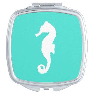 Miroir Compact Turquoise et hippocampe côtier blanc