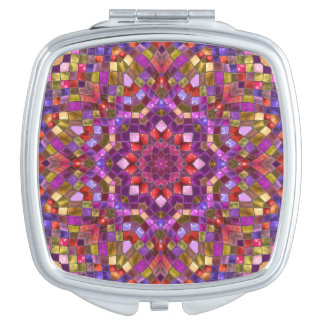 Miroir compact vintage   de motif de mosaïque