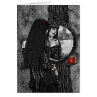 Miroir de carte rouge de fille d'imaginaire