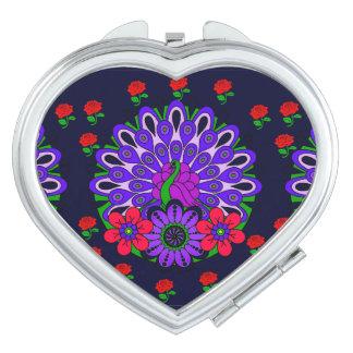 Miroir de contrat de coeur de paon