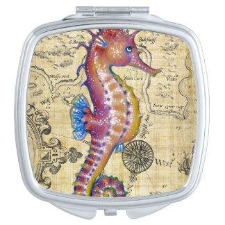 Miroir De Maquillage Carte de cru d'hippocampe