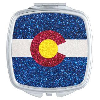 Glitter Colorado flag compact mirror