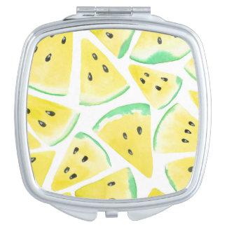 Miroir De Maquillage Motif jaune de tranches de pastèque