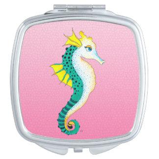 Miroir De Maquillage rose turquoise d'hippocampe
