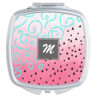 Miroir De Maquillage traçage géométrique noir en bon état de rose de