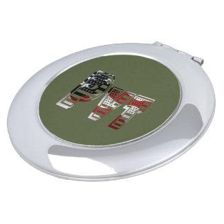 Miroir De Poche Américain vert militaire Pvt des Etats-Unis privé