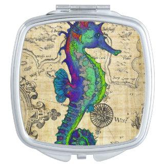 Miroir De Poche Carte comique vintage d'hippocampe