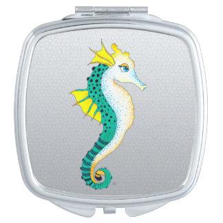 Miroir De Poche gris turquoise d'hippocampe