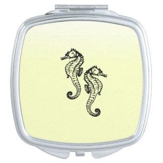 Miroir De Poche Jaune d'hippocampes