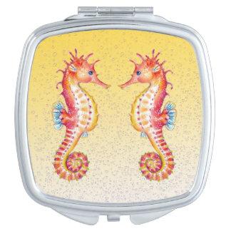 Miroir De Poche jaune rouge d'hippocampe