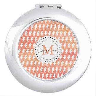 Miroir De Poche Monogramme blanc de corail du motif   d'hippocampe