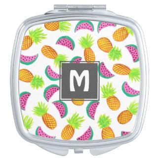 Miroir De Poche motif coloré de pastèque d'ananas d'aquarelle