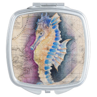 Miroir De Poche Vieille carte d'hippocampe