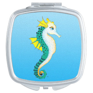 Miroir De Voyage bleu turquoise d'hippocampe