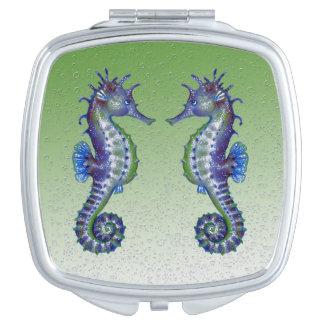 Miroir De Voyage bulles vertes d'hippocampes